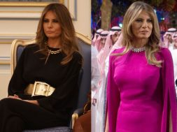 melania-trump-purple-dress-saudi-arabia-king-salman-02-gold-belt