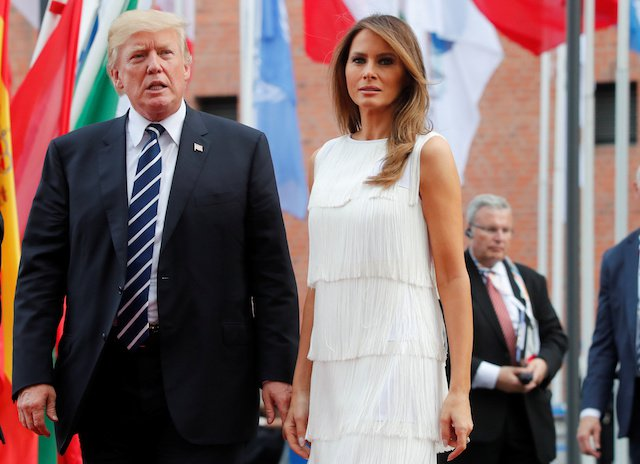 Melania Trump Rock Germany with her White frilly Dress at the G20 Summit