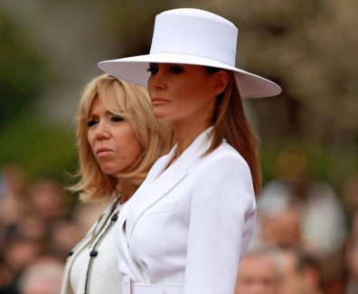 Melania-Trump-White-Hat-Michael-Kors-Suit-2018