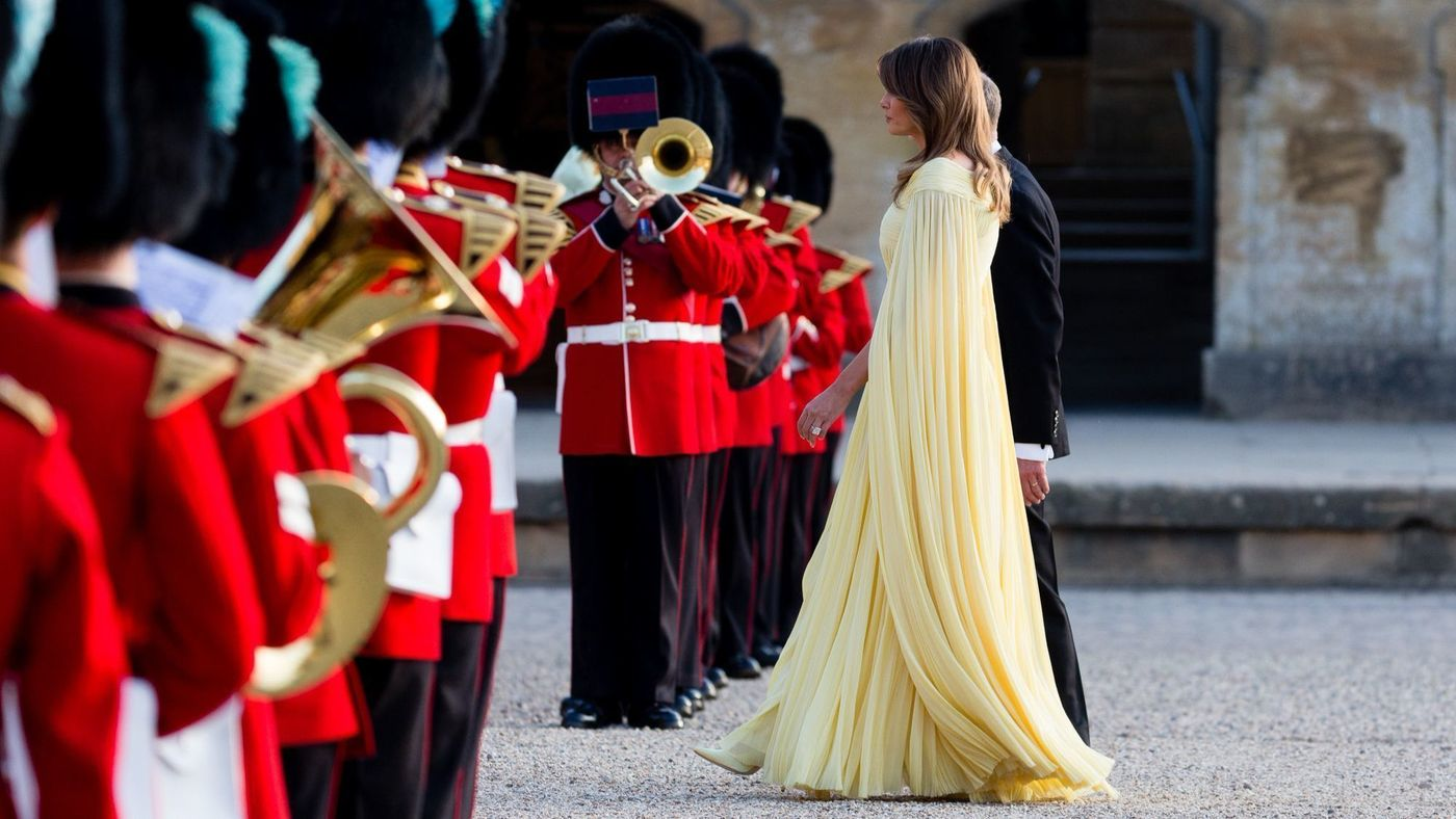 Melania Trump wearing a yellow J. Mendel gown