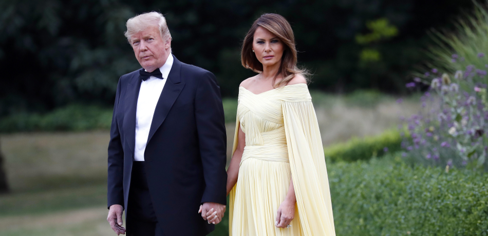 Melania Trump makes an entrance at Blenheim Palace wearing a yellow J. Mendel gown