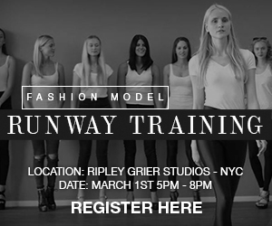 PROFESSIONAL FASHION MODEL RUNWAY TRAINING - MARCH 1ST